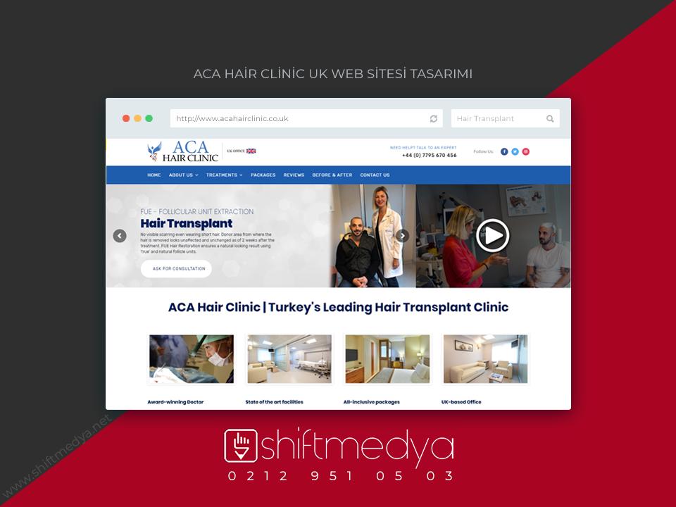 Aca Hair Clinic Saç Ekim Merkezi Web Sitesi Tasarımı