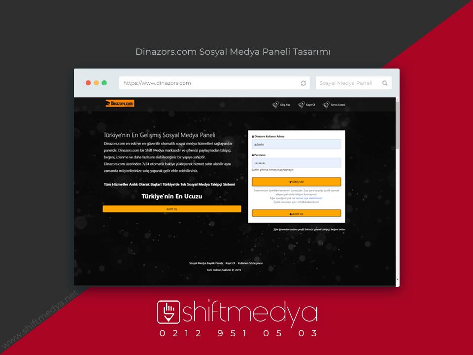 Dinazors.com SMM Paneli Tasarımı ve Yazılımı
